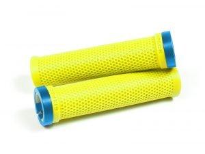 SIXPACK M-TRIX przykręcane chwyty na kierownicę neonowy żółty + kolorowe obejmy