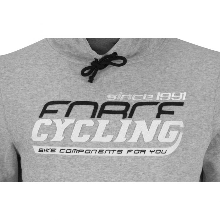 Bluza dresowa FORCE CYCLING z kapturem szara JUNIOR unisex, XXL